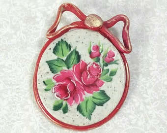 Rose Brooch, Red Roses, Mothers Day, Handpainted on Polymer Clay, Roses With Bow, Rose Pin