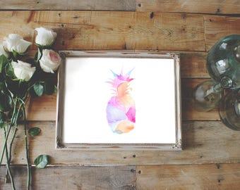 Aquarelle d'ananas Art Print, décor ananas, mur impression, décoration tropicale, Digital art, décoration murale, cadeau pour elle, décor de la cuisine
