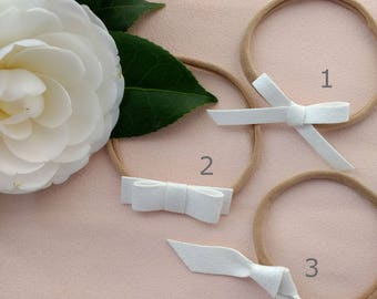 Christening Bow, Baptism Bow, White Headband, White Hair Bow, Newborn White Bow, Bow for Christening, Headband for Newborn, White Bow, Cream