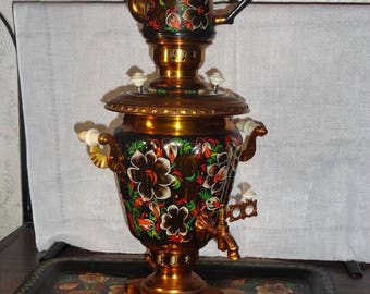"Vintage Soviet/Russian Hand-Painted Electric ""Samovar"" Tea Pot with Tray"