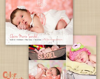 Baby Girl Announcement - Printable Photo Announcement - Double Sided Card - Custom birth announcement