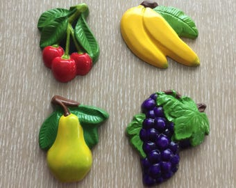 Hand Painted Retro Fruit Wall Hangings ~ Cherries, Banana, Pear & Grapes