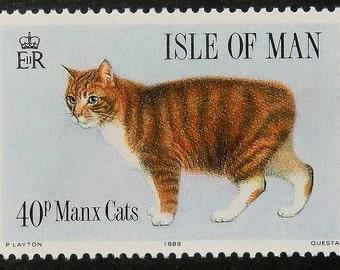 Manx Cat -Handmade Framed Postage Stamp Art 14368AM