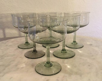 """Vintage Lenox Crystal From The Expression Line """"Green Mist"""" Pattern, Set  Of 6 Champange/Tall Sherbet Glasses. Made In USA. Disc 1974-1985."""