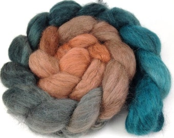 spinning Fiber - Baby Alpaca Combed Top - Aqua to Rust Gradient roving 4 oz
