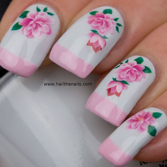 Nail Wraps Nail Art Water Transfers Decals Pink Lily Yd1125