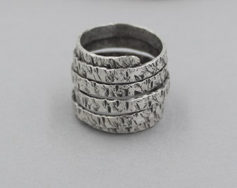 Sterling Silver Coiled Ring with Hammered Texture and Patina, Industrial, Rustic Silver Wrap Ring, Adjustable Silver Ring