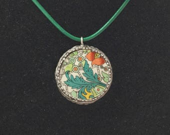 Broken China Jewelry / Vintage Chintz China /  Green Paisley Necklace /