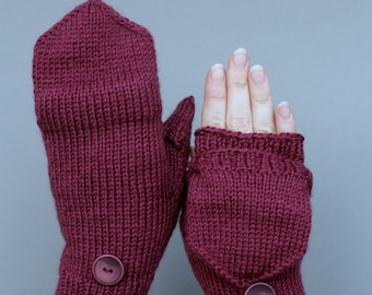 Hand Knitted Mittens, Convertible Mitts, For Women,Accessories, Gloves & Mittens, Wine Red, Cozy, Handmade Accessories, Whit Buttons