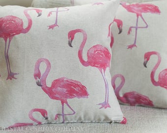 """Pink flamingo cushion cover. Vintage style printed flamingo design on a linen effect background. 17"""" x 17"""" cushion cover."""