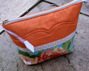 Orange pouch with roses/cotton/linen/