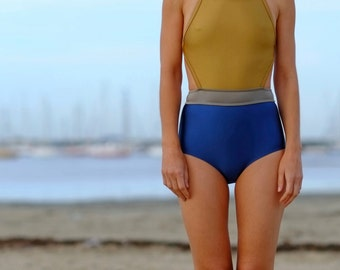 One piece swimsuit , boy leg bathing suit, womens swimsuit, maillot,  beachwear,  resort wear - Mordecai in Gold and Ocean