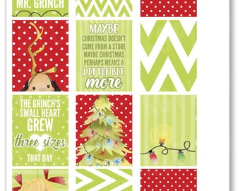 Christmas Grouch Full Boxes Planner Stickers for Erin Condren Planner, Filofax, Plum Paper
