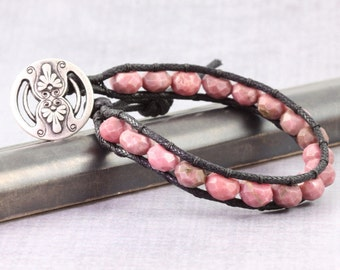 Pink Wrap Bracelet Rhodonite Gemstone Bracelet Dusty Rose Black Fall Fashion Bohemian Style Single Wrap Vegan Bracelet
