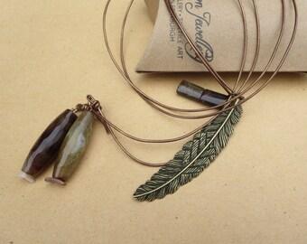 Gemstone Lariat Necklace, Y Necklace, Agate Lariat Necklace, Handmade Lariat Necklace, Edinburgh Jewellery Designer, U.K.