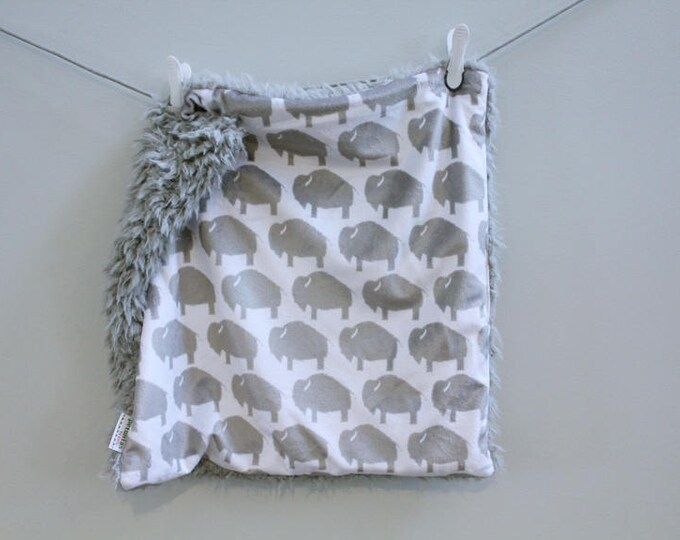 Lovey Blanket grey buffalo bison faux fur minky READY TO SHIP baby gift cloud blanket llama newborn gift plush photo prop toddler child