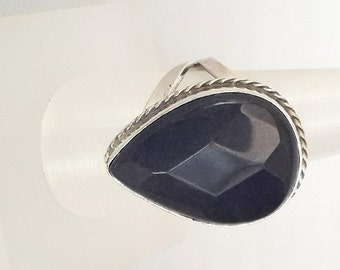 Sterling Silver Rİng ,Silver Ring , Lapis Ring, Ajustable Ring