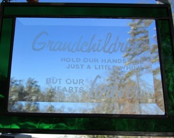 Stained Glass, Etched,  Sun Catcher - Grandchildren Hold our Hands - Hand Crafted - Emerald Green