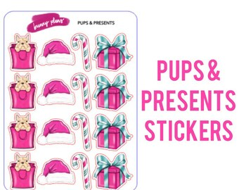 Pups & Presents Planner Stickers | holidays, pink present, candy cane, Santa hat