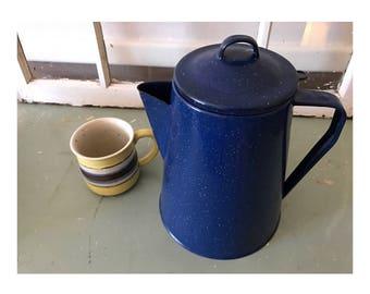 Vintage Blue Speckled Enamel Coffee Pot