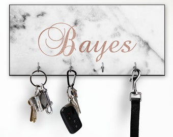 Modern Key Holder for Wall, Personalized Key Hanger, Marble and Rose Gold Name Sign, Entryway Wall Decor, Gift for Her, Housewarming Gift