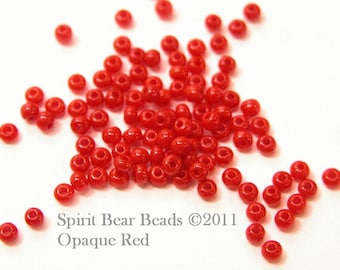 Red Opaque Czech Seed Beads size 11/0 lot of 20 grams