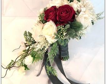Red bouquet, cascade bouquet, garden bouquet, wedding bouquet.