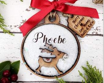 Personalised Christmas decoration, wooden reindeer, christmas bauble .
