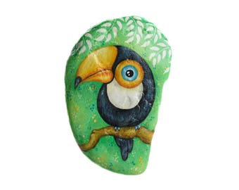 Hand-painted rock to hang with a toucan