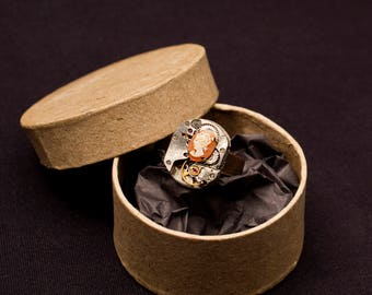 Steampunk with pink cameo ring
