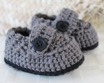 Crochet Baby Boy Button-Over Shoes