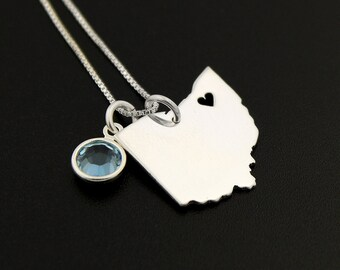 Choose your state and birthstone Personalized State Necklace With Heart & Birthstone Swarovski birthday and long distance relationship gift