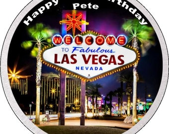 """Vegas Personalised Pre Cut Icing/Rice Paper Cake Topper 7.5"""""""