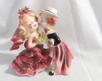 Large Vintage Norcrest Kissing Flamenco Dancers Boy and Girl