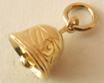 Genuine SOLID 9K 9ct YELLOW GOLD 3D Bell charm/pendant
