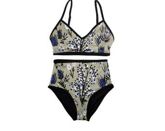 Camel Thistle Two Piece Swimsuit - High Waisted Swim Bottoms - Floral Swimsuit - High Rise Bikini - Eco Swim - Thief&Bandit®