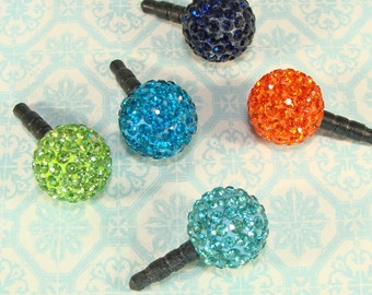 Big Ball Rhinestone Dust Plug Cell Phone Charm 14mm Assorted Colors Crystals Jewelry Supplies MP3 Mothers Day Best Friend Gift Idea