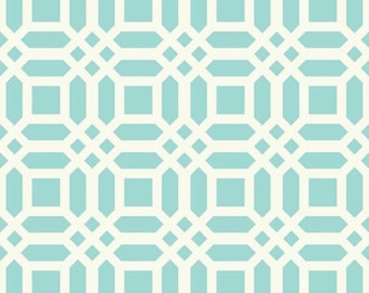 Riley Blake Designs Home Decor Duck Cotton Fabric Lattice Aqua Mint HH4452