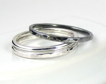Sterling Silver Ring Set Of Three, Stacking Ring, Hammered Ring, Simple Rings, Medium Ring, Sterling Silver Jewellery