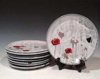 Poppy Plate with layered glaze or white glaze - dinner plate