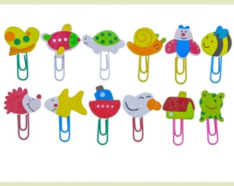 12pcs, Cute cartoon animal Wooden Paperclips, fun Wooden Paperclips, memo clip bookmark, novelty Office & School Supplies - ST21