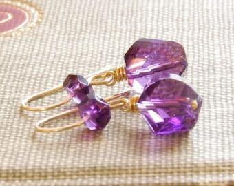 Amethyst Drop Earrings Purple Amethyst Gemstone Jewelry 14kt Gold Filled Dangle Earrings February Birthday Amethyst Gold Jewelry