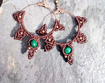 Macrame necklace with malachite earrings
