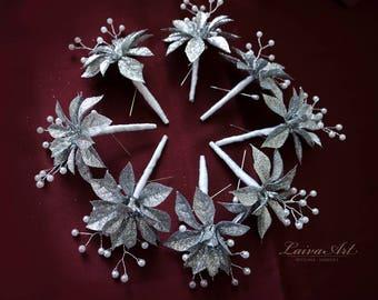 Winter Wedding Boutonniere Silver Grooms Boutonniere Winter Wonderland Wedding or Dance