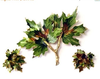 ON SALE - WEISS Autumn Maple Leaves Enamel Gold-Tone Brooch and Clip-On Earrings