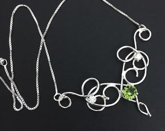 Elvish Art Nouveau Faceted Gemstone Necklace, Victorian Necklace, Sterling Silver Handmade Necklace, Renaissance Wedding, OOAK