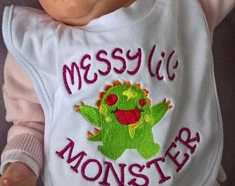 Messy Little Monster Baby Bib, Monster Bib, Embroidered Bib, Pull On Baby Bib, Baby Bib, New Baby Gift, Christening Gift, Baby Shower Gift