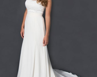 Audrey- Strapless wedding dress with lace bodice, and crepe fit and flare skirt