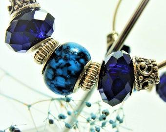 Blue Sapphire Beaded Hoop Earrings with Crystals