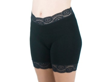 Biker Shorts Black Cotton Jersey Lace Trim Tap Pants Underpants for Skirts
